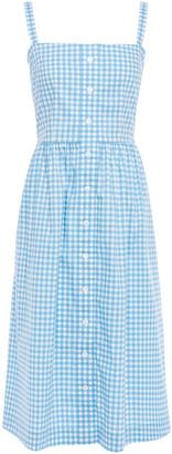 HVN Gathered Button-embellished Gingham Cotton-blend Poplin Dress