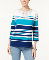 Alfred Dunner Petite Adirondack Trail Embellished Striped Top