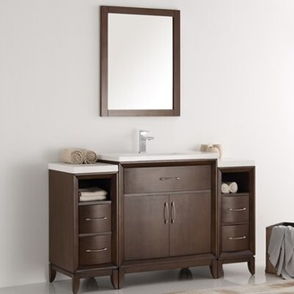 "Cambridge Silversmiths 54"" Single Bathroom Vanity Set with Mirror Fresca Base Finish: Antique Coffee"
