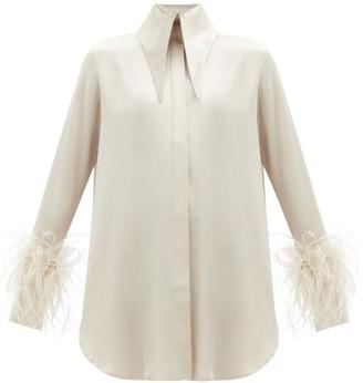 16Arlington Seymour Feather-trim Satin Shirt Dress - Beige