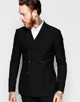 Asos Super Skinny Double Breasted Suit Jacket in Black