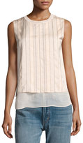 Vince Double-Layered Embroidered Shell Top