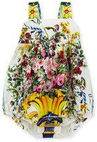 Dolce & Gabbana Floral Vase Bubble Playsuit, White/Multicolor, Size 3-18 Months
