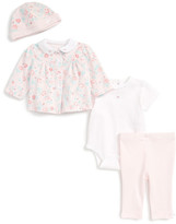 Little Me Floral Fancy Shirt, Bodysuit, Leggings & Hat Set (Baby Girls)