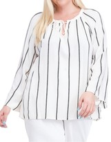Fever Plus Size Embroidered-Stripe Peasant Top