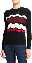 Autumn Cashmere Zigzag Stitch Crewneck Sweater