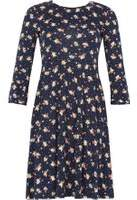 Dorothy Perkins Womens *Izabel London Navy Floral Print Skater Dress- Navy