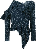 Self-Portrait asymmetric polka dot blouse