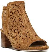 Via Spiga Jorie2 Perforated Suede Peep Toe Block Heel Booties