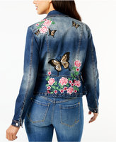 INC International Concepts Embroidered Denim Moto Jacket, Created for Macy's