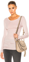 Enza Costa Rib Long Sleeve Tee in Pink Beige