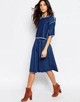 Denim Midi Skirt - ShopStyle UK