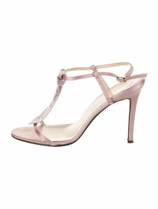Christian Louboutin Leather Sequin Embellishments T-Strap Sandals Pink