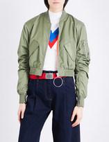 Mo&Co. Cropped shell bomber jacket