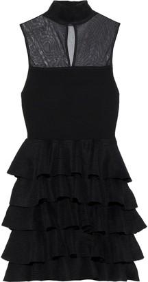 Alice + Olivia Janice Mesh-paneled Tiered Stretch-knit Mini Dress