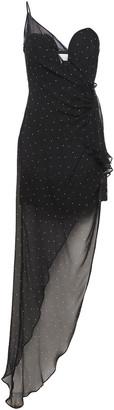 Mason by Michelle Mason Asymmetric Draped Polka-dot Silk-chiffon Mini Dress