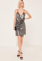 Missguided Silver Metallic Wrap Cami Dress