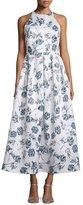 Shoshanna Floral-Print Sleeveless Midi Dress/Gown, Blue Multi