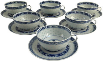 One Kings Lane Vintage Asian Rice Porcelain Cups & Saucers - Set of 6 - Chic Transitions
