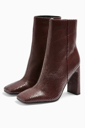 Topshop Womens Halia Leather Burgundy Lizard Square Toe Boots - Burgundy