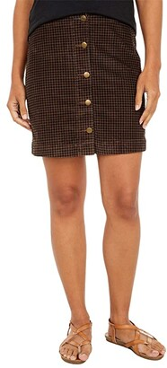 Toad&Co Cruiser Cord Skirt (Chestnut Houndstooth Print) Women's Skirt