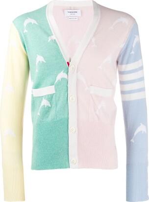 Thom Browne Dolphin Half Drop Intarsia V-neck Cardigan