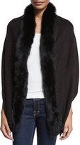 Adrienne Landau Fox-Trim Knit Wrap, Black