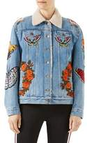 Gucci Embroidered Denim Jacket with Shearling Fur Lining, Light Blue