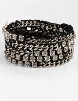 Chan Luu Silvertone Chain & Rhinestone Wrap Bracelet