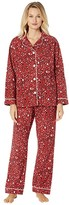 True Grit Dylan By Dylan by Baby Cheetah Soft Flannel Pajama Set with Contrast Piping and Tie (Red) Women's Pajama Sets