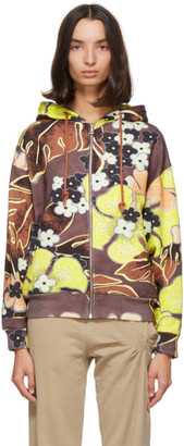 Dries Van Noten Brown Floral Zip Hoodie