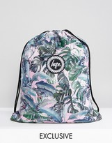 Hype Exclusive Pastel Garden Palm Print Drawstring Backpack