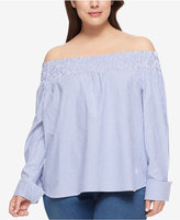 Tommy Hilfiger Plus Size Seersucker Off-The-Shoulder Top