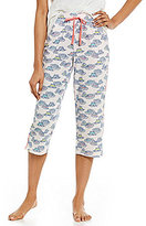 Sleep Sense Straw Hat-Print Jersey Capri Sleep Pants