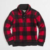 J.Crew Factory Boys' buffalo-check sherpa mockneck pullover