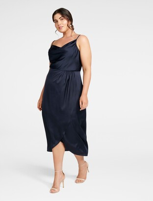 Forever New Holly Cowl Neck Midi Curve Dress - Navy - 16