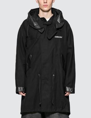 Ambush Hooded Cotton Fishtail Parka Coat