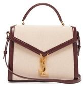 Saint Laurent Cassandra Leather-trimmed Canvas Shoulder Bag - Womens - Burgundy