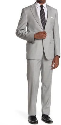 Calvin Klein Light Grey Solid Wool Blend Two Button Notch Lapel Suit