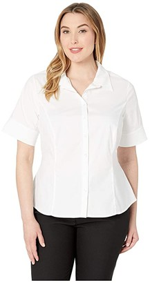 Unique Vintage Cotton Short Sleeve Button Up Mazzie Blouse (White) Women's Blouse