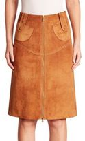 Derek Lam Suede Buckle Pencil Skirt