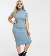 In The Style Plus In The Style x Billie Faiers Plus knitted roll neck short sleeve in blue