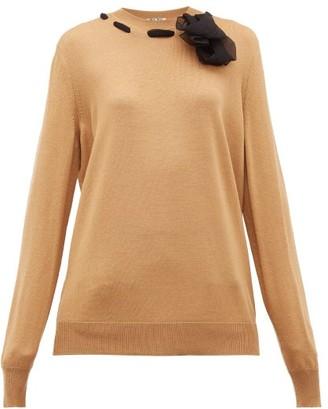 Miu Miu Chiffon Trimmed Wool Sweater - Womens - Camel