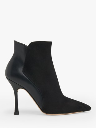 LK Bennett Aliyah Suede and Leather Stiletto Heel Ankle Boots, Black