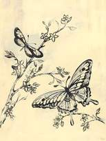 Oopsy Daisy Fine Art For Kids Toile Butterflies Cream and Black Stretched Canvas Wall Art by Heather Gentile-collins