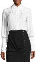 Michael Kors Button-Detail Silk Blouse, White