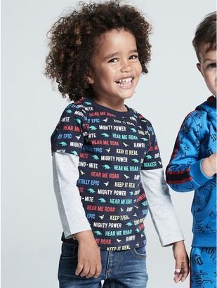 M&Co Dino-Mite stripe slogan dinosaur t-shirt (9mths-5yrs)