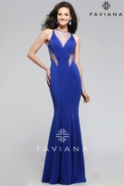 Faviana Delightful Mermaid Neoprene Dress with Illusion V Neckline and Side Cutouts 7792