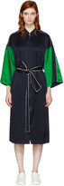 Opening Ceremony Reversible Navy Silk Kimono Robe Coat