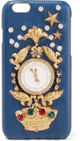Dolce & Gabbana Crystal-embellished Croc-effect Leather Iphone 6 Case - Blue